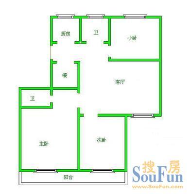 福成二期户型图 福成二期 3室 户型图3室2厅2卫1厨 147.00高清图片