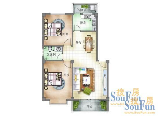 两室两厅两卫 高清图片