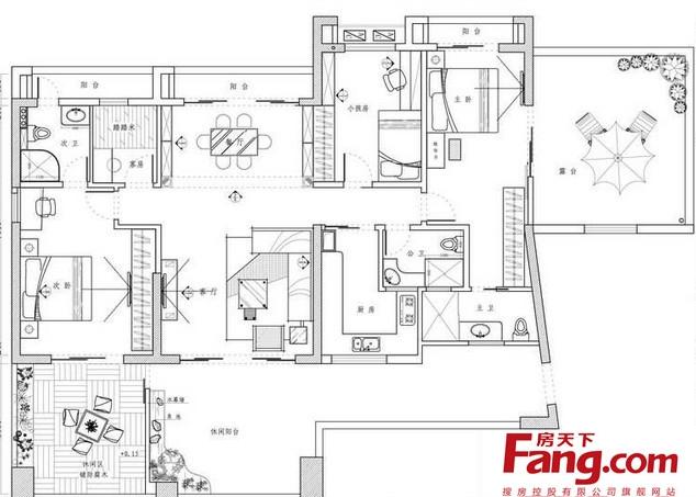 2013三室一厅100平米房屋设计图图片