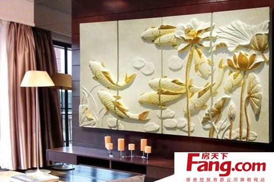 旺财风水设计中式背景墙效果图
