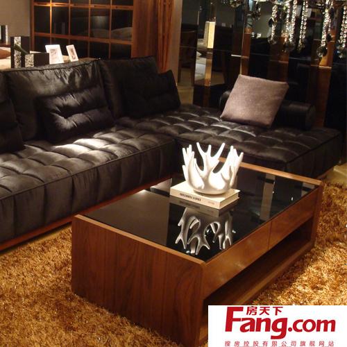 客厅黑胡桃木家具茶几效果图图片