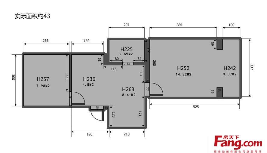 东营别墅_40平米小户型平面图-房天下装修效果图