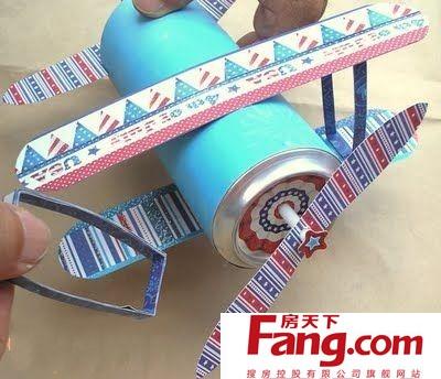 幼儿园手工制作模型 易拉罐变飞机