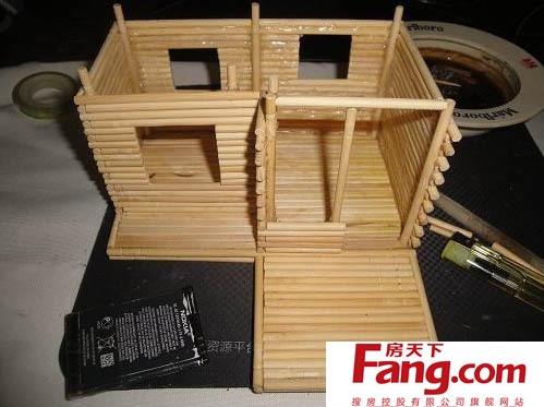 冰棍棒手工制作小木屋