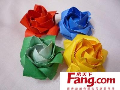 手工折纸玫瑰花的做法 手工折纸玫瑰花图解