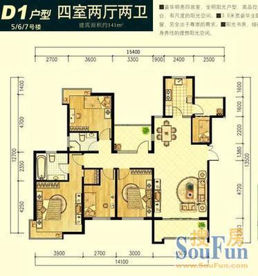 四室两厅户型图图片大全 四室两厅三卫,空中花园 奢华大图片