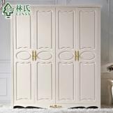 [现货]林氏家具 实木脚贴金箔田园衣柜 四门整体衣柜 品牌KD162