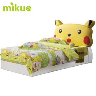 2米小床 时尚卡通比卡丘儿童床 皮艺床环保皮e009