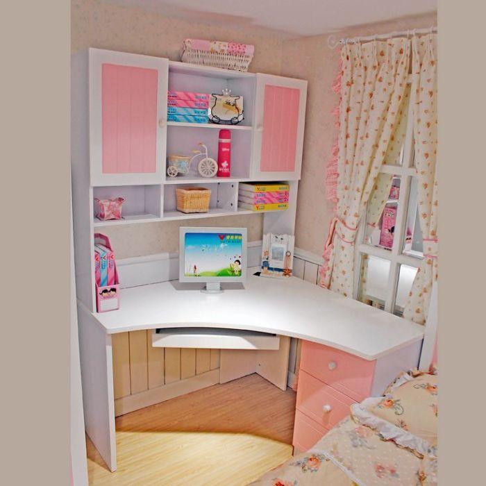 简迪 田园书桌 粉色转角书柜 韩式书桌 电脑桌 儿童学习桌 903图片