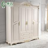 [现货]林氏家具实木脚欧式田园衣柜 四门整体衣柜平拉门衣柜KD150