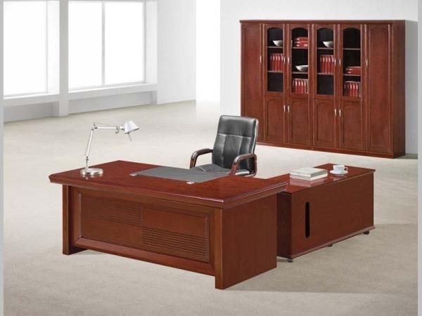 HiBoss胡桃木酸枝色老板办公桌实木大班台特价办公桌ZY-T1808220S