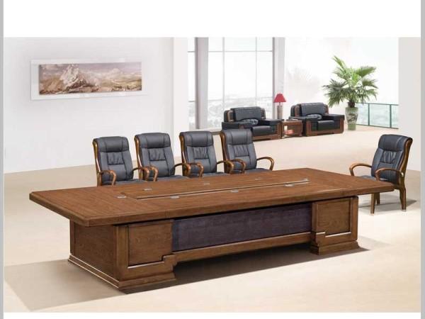 Hiboss实木会议桌(已周)高端办公桌鸡翅木色桌现代桌子HI106C38