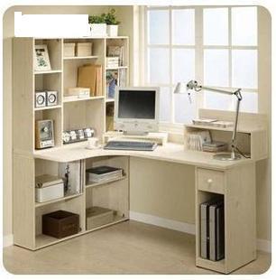 简约家用转角电脑桌 办公桌 写字 书桌书架组合 电脑桌带书柜一体