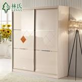 林氏家具 现代简约趟门衣柜两门衣柜储物柜 板式衣柜 品牌G-C506