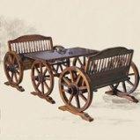 圣托 酒吧车轮桌椅组合 吧台桌凳 休闲实木桌椅 时尚简约 JPQ011图片