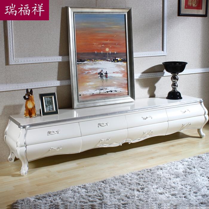 瑞福祥 新古典电视柜 实木电视机柜子地柜视听柜 白色图片