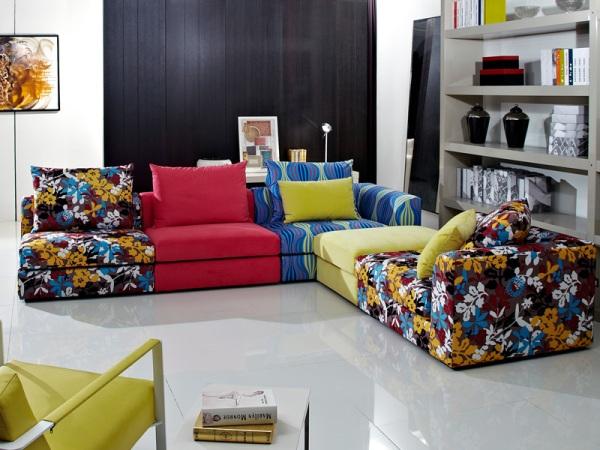 华日家居时尚简约新品撞色组合布艺沙发