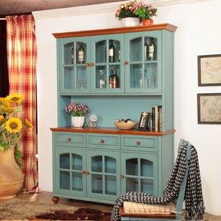 拉阔乡村家具美式乡村实木酒柜 玻璃餐边柜 田园服务桌碗柜 橱柜图片