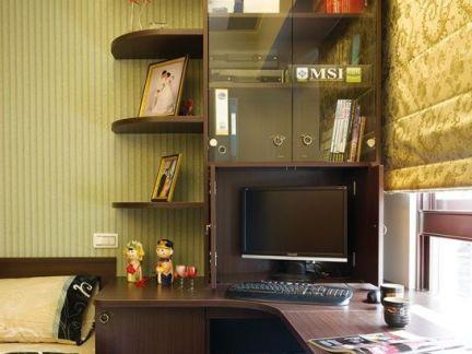 中式风格转角书桌书柜图片