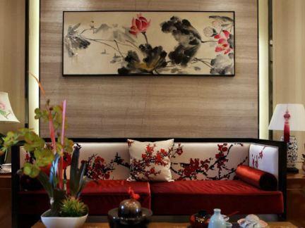客厅沙发墙中式装饰挂画图片