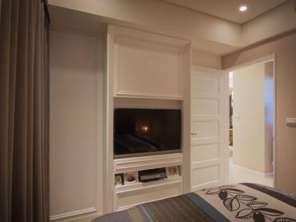 现代日式风格卧室电视背景墙图