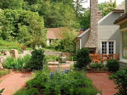 花园洋房小院效果图大全-2017水池屋顶花园图片 房天下装修效果图