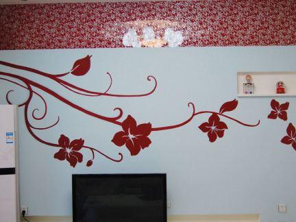 客厅简单手绘墙画效果图