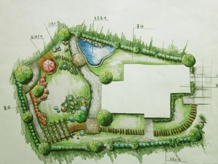 手绘园林设计平面图