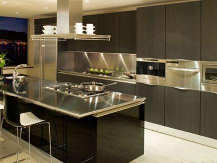 一体式厨房吧台装修设计图片