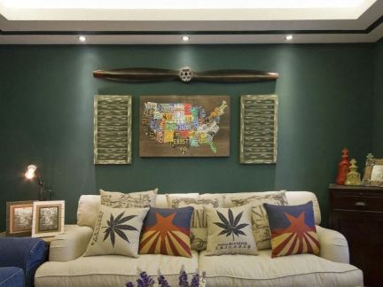 美式复古风格一居客厅沙发背景墙装饰画图片图片
