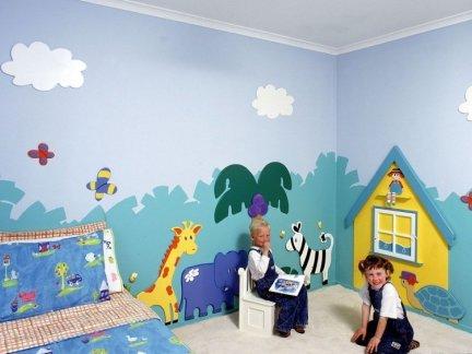 3d儿童房手绘墙效果图