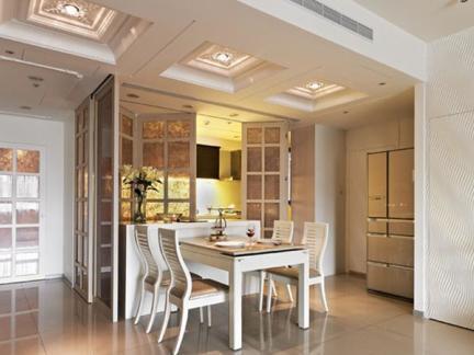 现代简欧餐厅吊顶图片