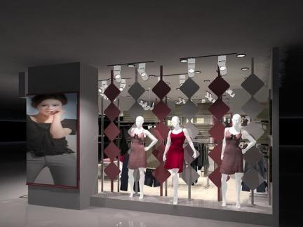 服装店橱窗设计效果图案例