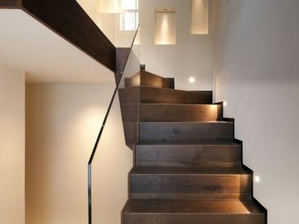 美式风格复式实木楼梯设计效果图图片