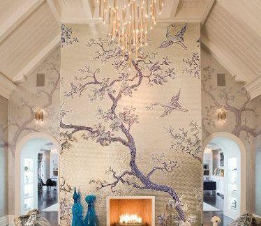 欧式背景墙大自然壁纸装修图片