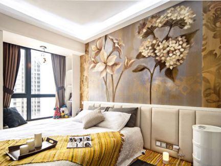 混搭风格卧室背景墙装饰画图片