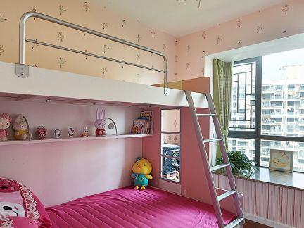 现代风格上下铺女孩儿童房效果图片