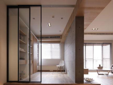 简约家居休闲室玻璃门隔断效果图