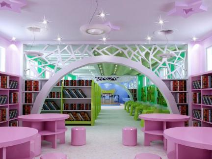 儿童图书馆设计室内效果图片