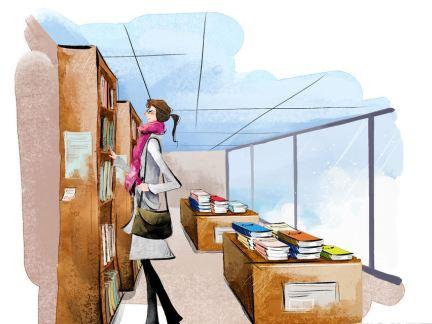 手绘书店设计效果图图片
