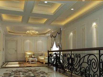 别墅楼梯间拼花瓷砖效果图 - 楷模装饰