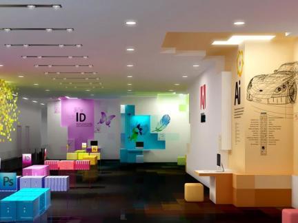 现代时尚办公室墙面装饰效果图