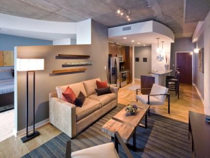别墅卧室与客厅隔断设计效果图