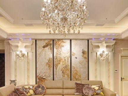 2017简欧客厅吊灯装修效果图-房天下装修效果图图片