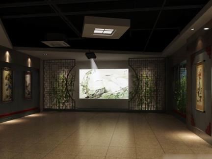 中式书画展厅设计效果图图片