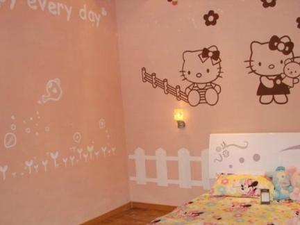 卧室粉色硅藻泥图片