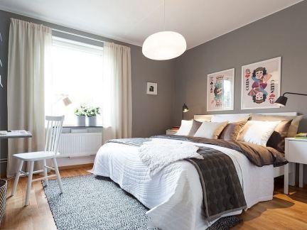 北欧风格卧室床头设计效果图图片