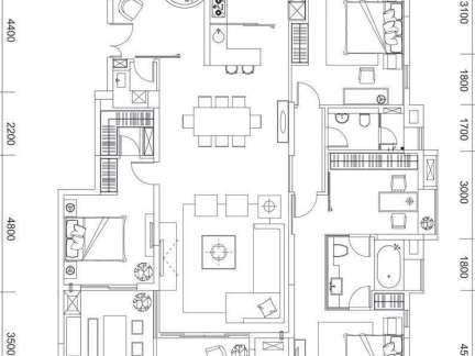 三房二厅二卫平面图