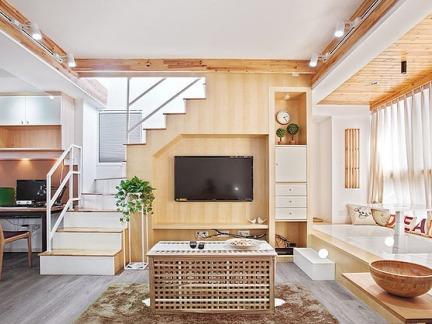 日式小户型复式楼装修效果图大全图片