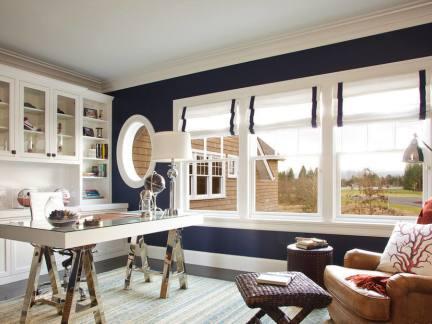 简欧风格室内设计书房飘窗效果图